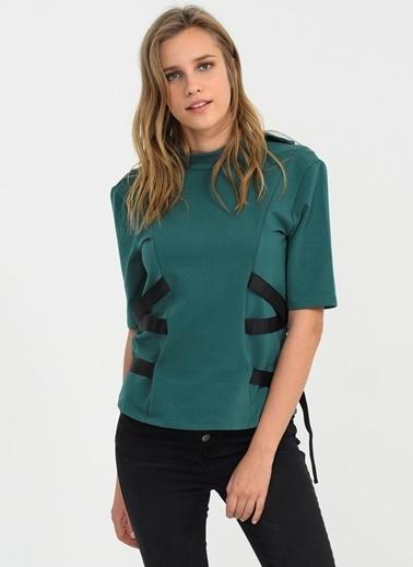 People By Fabrika Yanları Şerit Bluz Yeşil